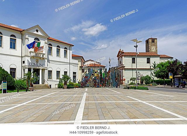 City hall, Comune Tu Montegrotto Terme, piece of art, Alberi Metallici, in 2003, artist, Umberto del Negro, church, Duomo di San Pietro Apostolo