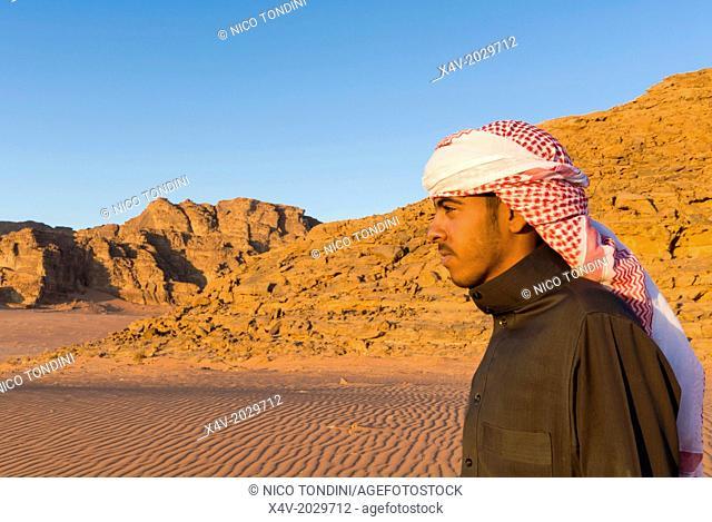 Bedouin man, Wadi Rum, Jordan, Middle East