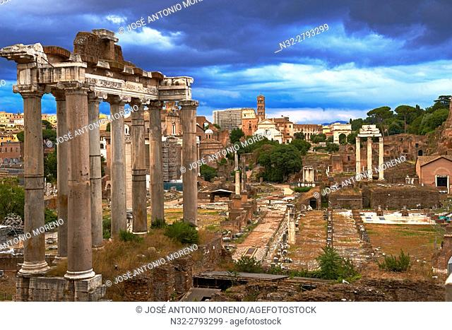 Temple of Saturn; Roman Forum; Rome; Lazio; Italy; Europe