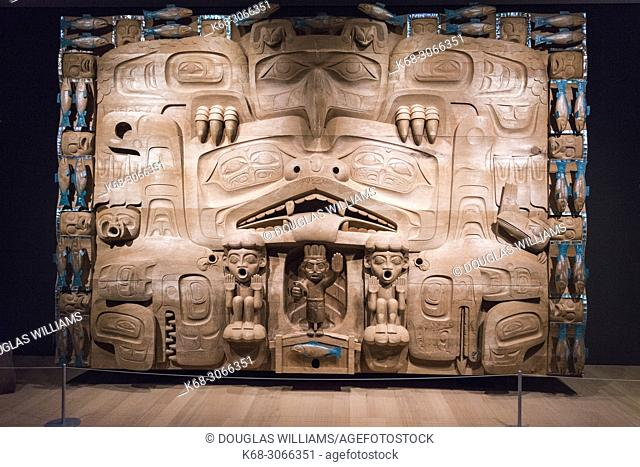 The Dance Screen by James Hart, West coast First Nations art at the Audain Art Museum in Whistler, BC, Canada