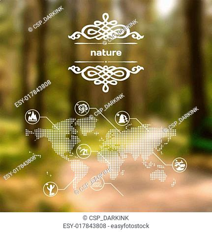 Vector mobile and web interface with nature and forest