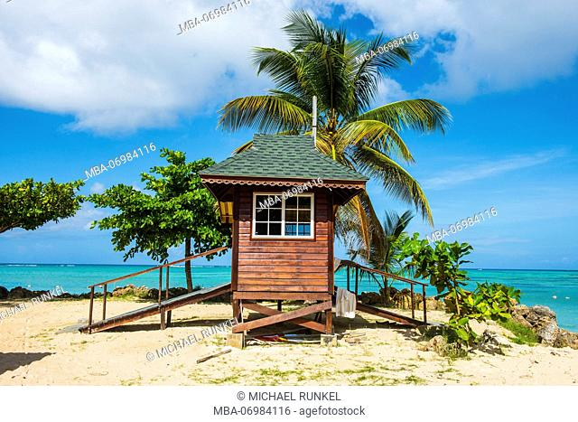 Baywatch tower on Pigeon Point, Tobago, Trinidad and Tobago, Caribbean