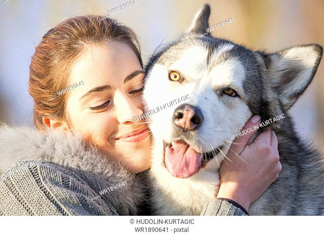 Woman with Husky, Portrait, Croatia