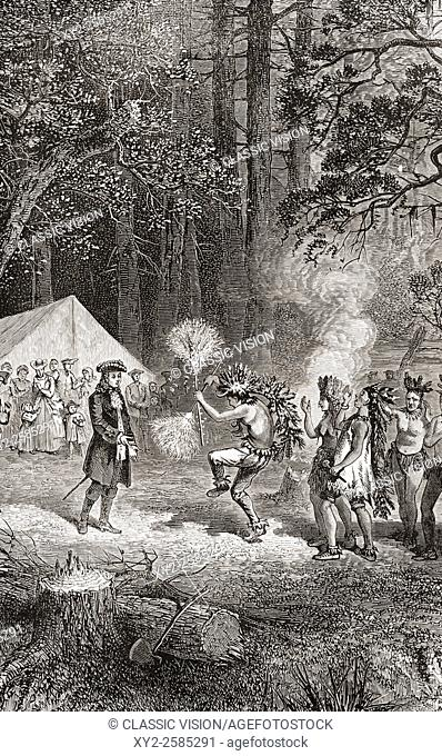 James Oglethorpe, accompanied by settlers, arrives in 1732, at Yamacraw Bluff, Savannah, Georgia to establish a camp with the help of a local elderly Indian...