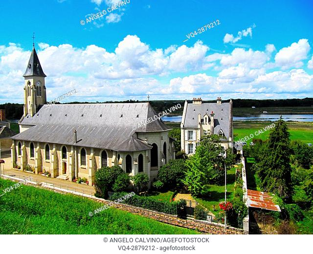 Overview of a church in the surrounding of Cheverny on the Loire Valley, France