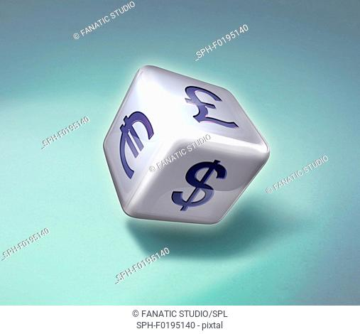Illustration of dice with various currency symbols