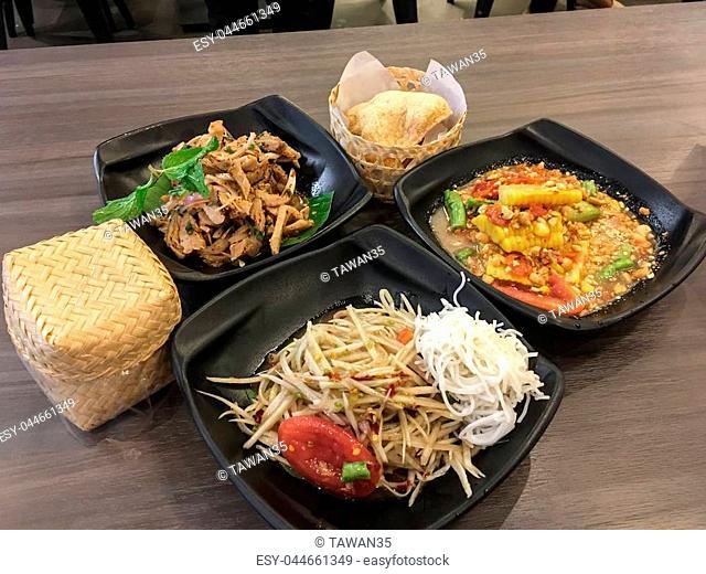 """""""""""""""""""""""Som tum""""""""., Corn spicy salad is thai food in restuarant."""