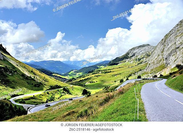 Col de la Colombière, pass of the Route des Grandes Alpes, Haute-Savoie, French Alps, France