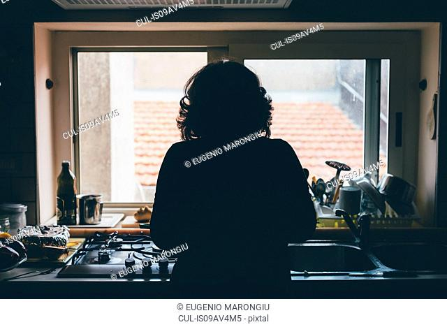 Rear silhouetted view of woman standing in front of kitchen sink