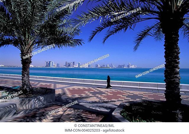 Corniche, view of Doha Bay, Doha, Qatar, Middle East