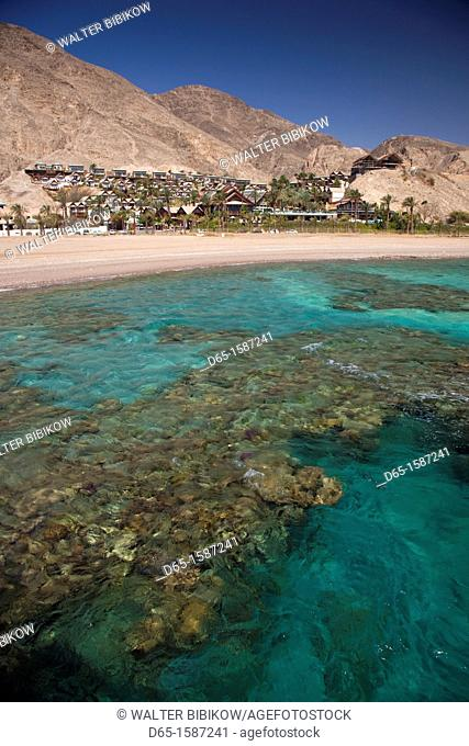 Israel, The Negev, Eilat, Red Sea, Underwater Marine Park, elevated view from observation tower