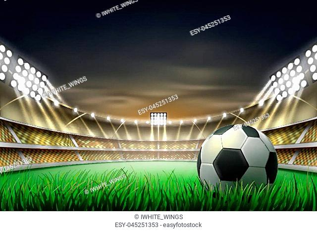 Football soccer stadium tribune backgroud with ball at realistic green grass field playground, illuminated by 3d spotlight