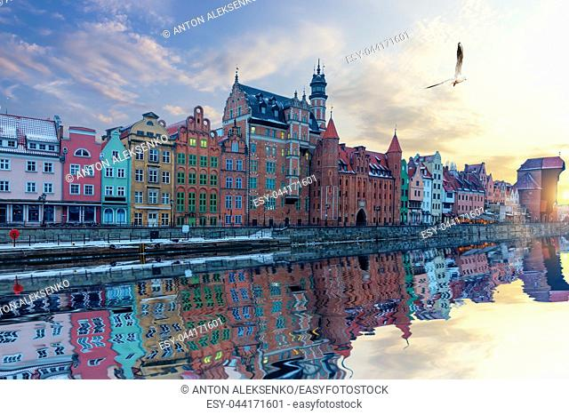 Gdansk riverside view, beautiful Old Town facades and Zuraw Port Crane