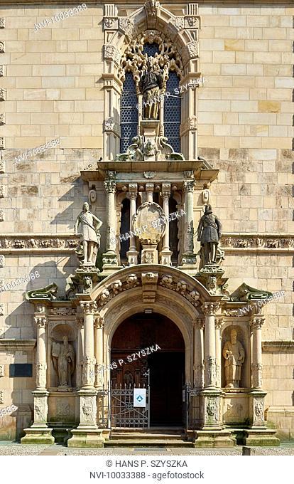 West portal of St. Mary's Church in Wolfenbüttel, Lower Saxony, Germany