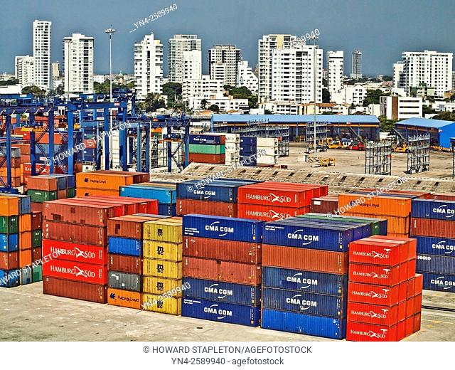 Shipping containers on a dock near downtown Cartagena, Colombia