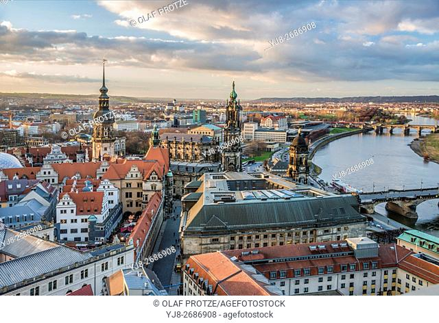 View over the old town and Dresden skyline at dawn, Saxony, Germany