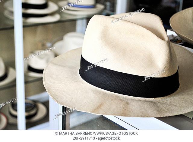Toquilla straw hat, known as Panama Hat. Brimmed straw hat of Ecuadorian origin. Montecristi. Ecuador