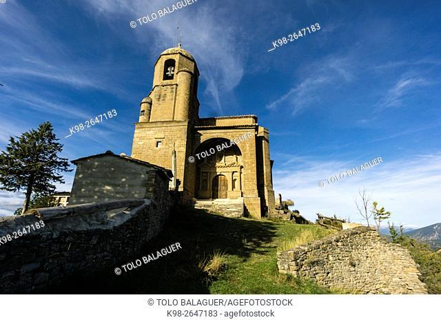 Santa Eulalia church (16th century). Monumento Nacional y Bien de Interés Cultural. Olsón, municipality of Ainsa-Sobrarbe , Huesca province, Aragón