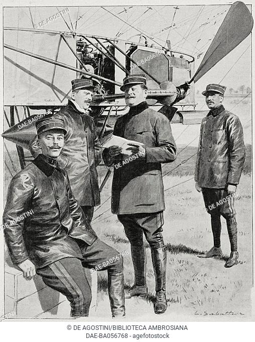 The crew of the French airship Republique, on the left captain Marchal, illustration by Louis Sabattier from L'Illustration, No 3475, October 2, 1909