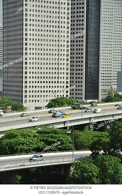 Singapore: view on the East Coast Parkway, seen from the Singapore Flyer