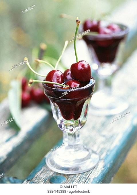 Cherries in red wine