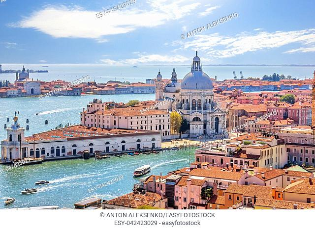 Santa Maria della Salute and Punta della Dogana in the Grand Canal of Venice, view from the top of Basilica San Marco