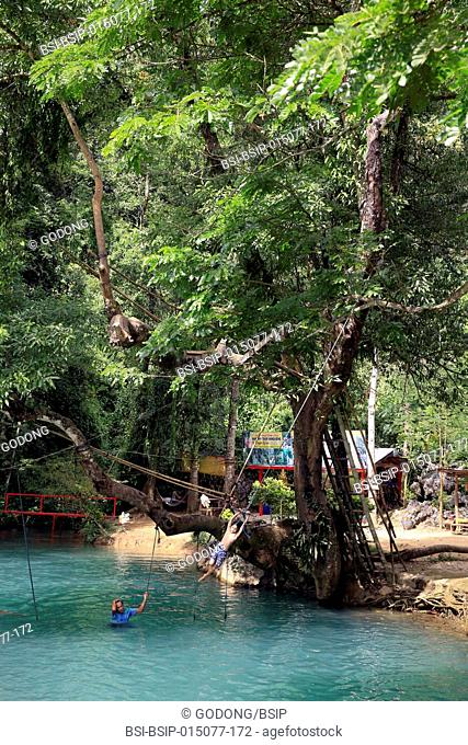 Tham Phu Kham Cave and Blue Lagoon. Vang Vieng. Swim in clear waters
