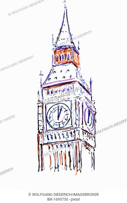 Clock tower, Big Ben, London, England, Great Britain, drawing by Gerhard Kraus, Kriftel