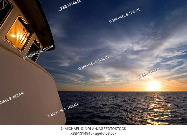 Sunrise on the Lindblad expedition ship National Geographic Sea Bird near Danzante Island in the Gulf of California Sea of Cortez Baja California Sur, Mexico