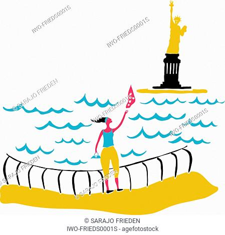 A woman standing at the water's edge, waving at the Statue of Liberty