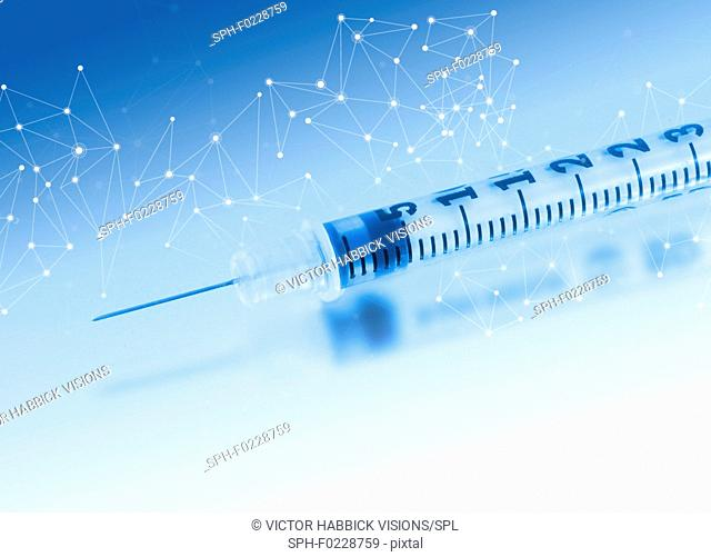 Syringe with network pattern, illustration