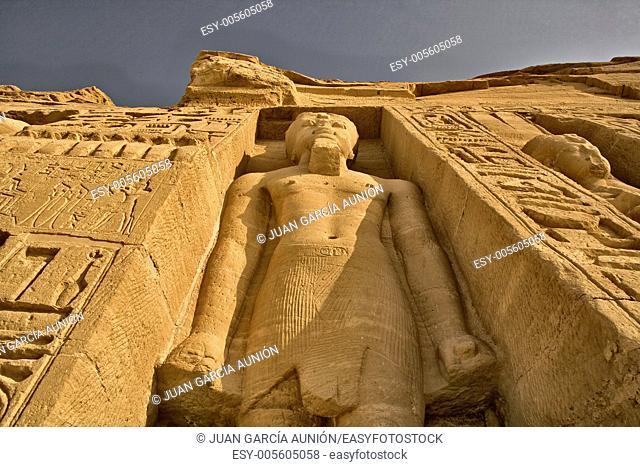 Hugh standing sculpture, high side of Temple of Queen Nefertari in Abu Simbel, Egypt