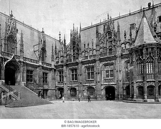 Early autotype of Le Palais de Justice or Palace of Justice, Rouen, Upper Normandy, France, historical picture, 1884