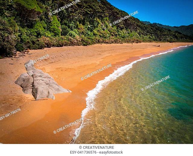 Isolated Stretch of Deserted totaranui Beach in Abel Tasman National Park, New Zealand