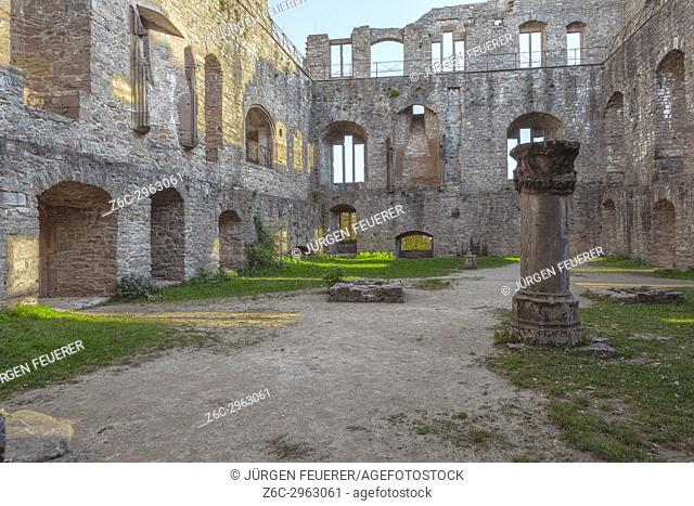 Inner court of the Old Castle Hohenbaden of the spa town Baden-Baden, Germany