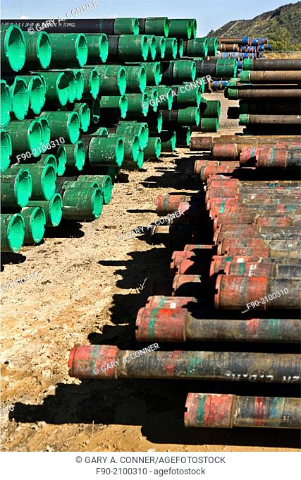 Stacked drill pipe in oil-gas area in Colorado