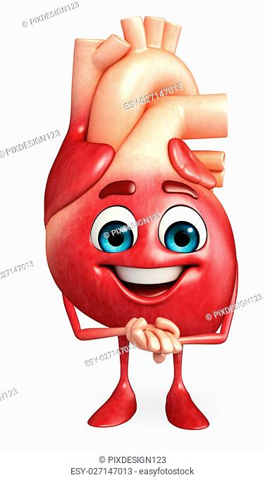 Cartoon Character of heart with happy pose