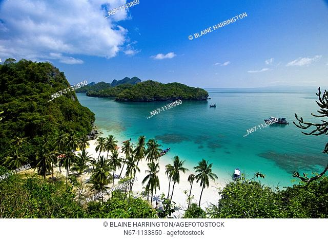 Overview from Ko Wua Talap, one of the islands in the Angthong National Marine Park 42 limestone islands near Koh Samui island, Gulf of Thailand, Thailand