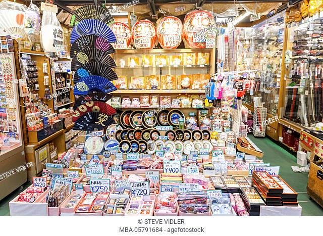 Japan, Honshu, Tokyo, Asakusa, Sensoji Temple aka Asakusa Kannon Temple, Nakamise Shopping Street, Souvenir Shop Display