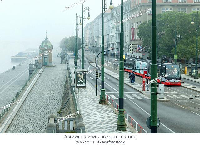 Foggy morning in New Town, Prague, Czech Republic