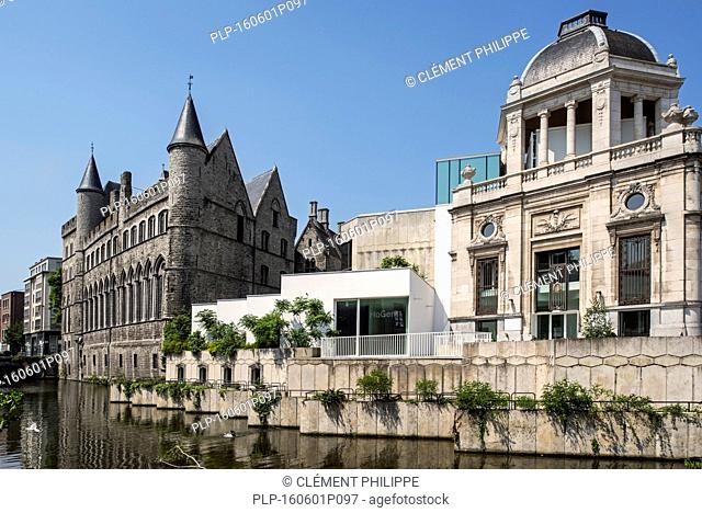 The knight's residence Geeraard de Duivelsteen / Devil Gerard's Castle and building of the former National Bank in Ghent, Belgium