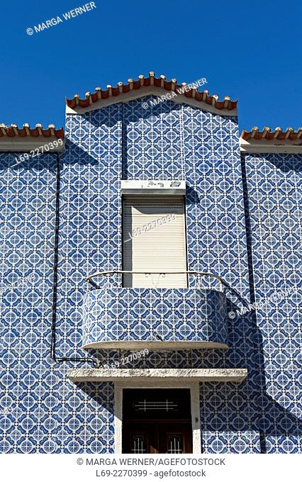 House with blue Tiles in Aveiro, North of Portugal, Europe