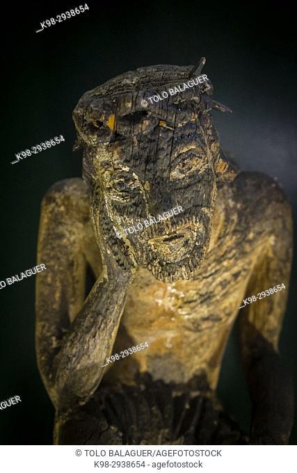 Cristo preocupado, escultura de madera, siglo XIX, museo de los iconos, castillo Real, Sanok, Podkarpackie Voivodeship, Poland, Eastern Europe