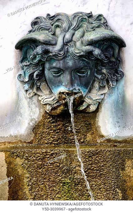 fountain - part of statue of Ulysses in the Cour de la Fontaine, Palace of Fontainebleau, Château de Fontainebleau, French royal châteaux - residence for the...