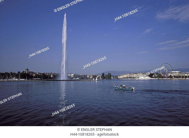 Geneva, town, city, harbor, port, jet, Jet d'Eau, fountain, Boat, fisherman, fishing boat, Lake Geneva, lake of Geneva