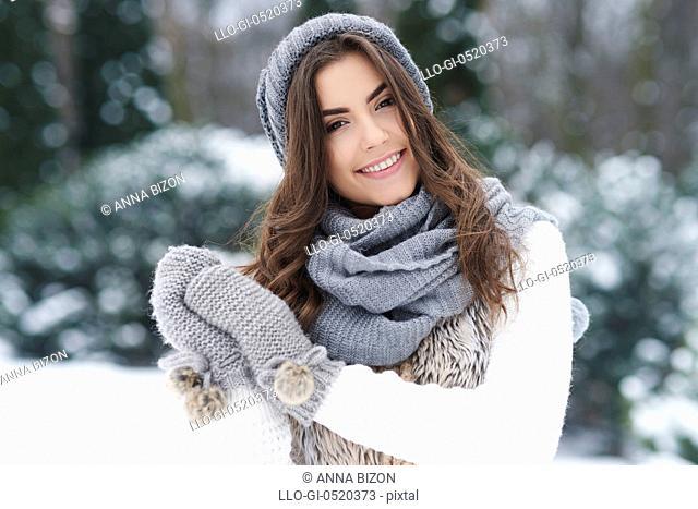 Lovely woman enjoying the winter. Debica, Poland