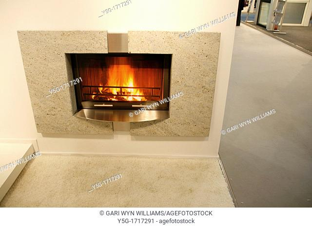 image of gas fireplace at interior decoration trade show