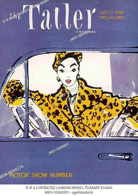 An elegant woman dressed in leopard skin fur coat and hat poses momentarily at the wheel of a car