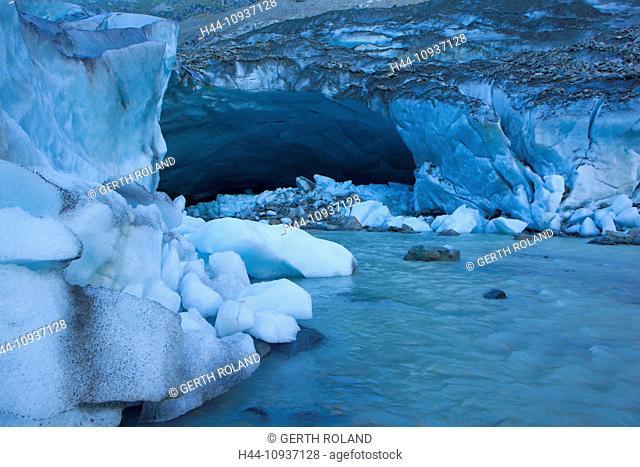 Morteratsch glacier, Switzerland, Europe, canton, Graubünden, Grisons, Engadin, Engadine, river, flow, glacier, glacier mouth, ice