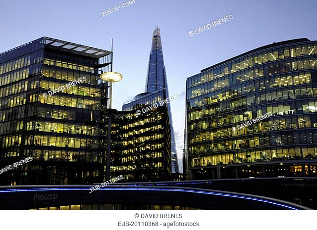 Offices in More London with The Shard at dusk